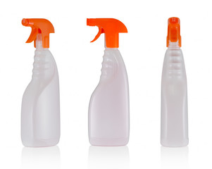 spray bottles isolated on white background