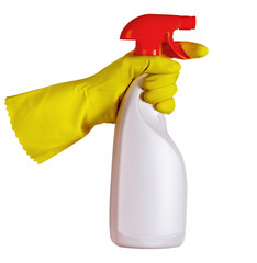Hand in yellow protective glove holding spray bottle on white