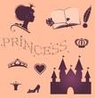 Постер, плакат: Набор векторных изображений стиля жизни принцессы
