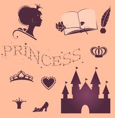 Набор векторных изображений стиля жизни  принцессы