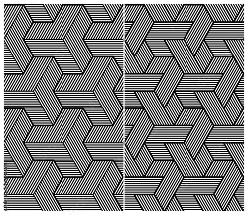 Set of Two B&W Seamless Patterns. Abstract Elements