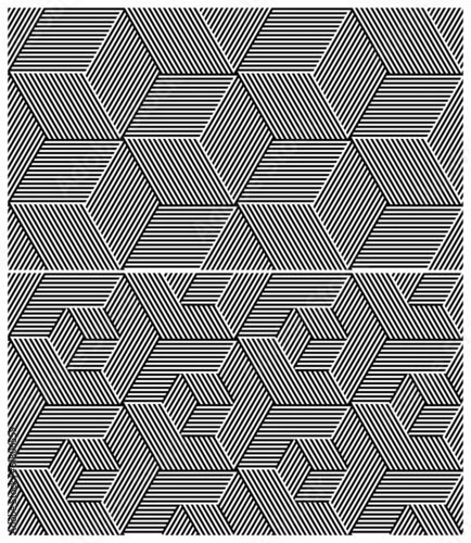 Set of Two B&W Seamless Patterns. Cubic Elements