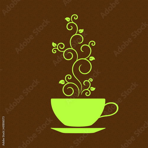 Cup of tea with floral ornamental steam over burlap texture