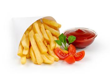 Fried Potato with tomato on white background