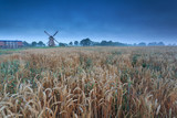 windmill on wheat field in dusk