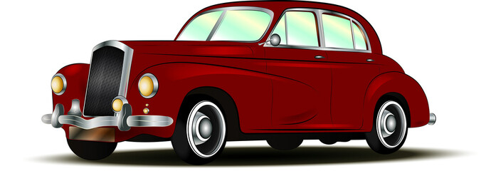 red retro car 1930-1950 without background