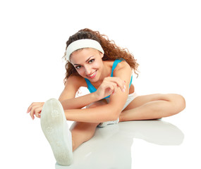 Young woman doing exercises . isolated on white background.