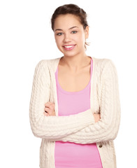 A young woman standing, isolated on white background.