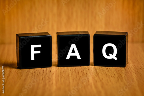 FAQ or Frequently asked questions text on block