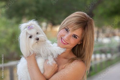 love of dogs woman with pet