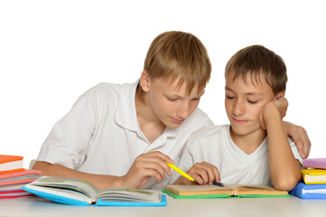 Two brothers doing homework