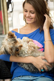 Teen girl with adorable dog
