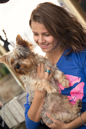 Teenager with dog