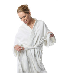 happy woman in bathrobe