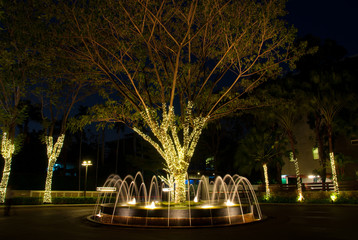 The beatiful fountain with decorated light at night time