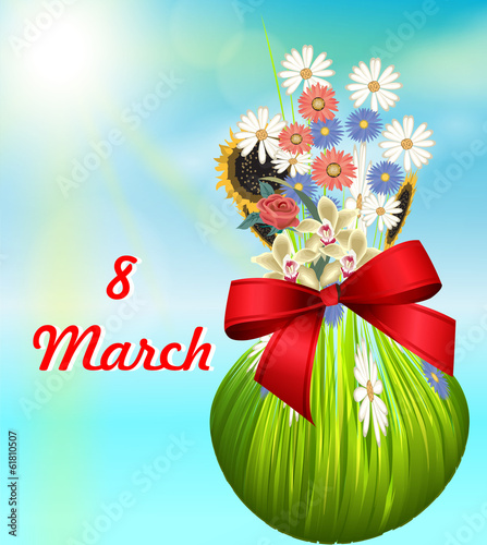 card on March 8 with the image of a bouquet of flowers