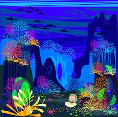 Background with the underwater scenery