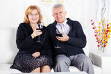 Senior couple in home enjoying in glass of wine.
