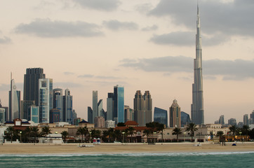 Downtown of Dubai (United Arab Emirates). View from the beach
