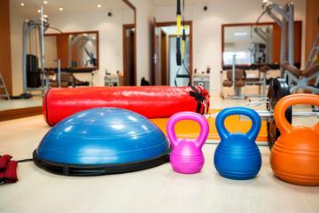 Kettlebells at fitness gym