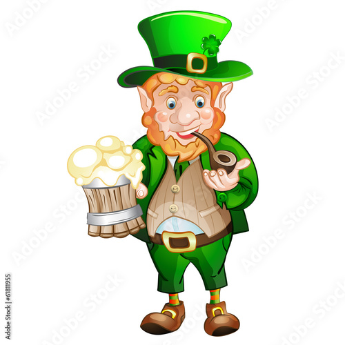 Cartoon Leprechaun  .  St. Patrick's Day. Drawing style black