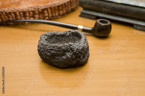 Decorative black stone ashtray