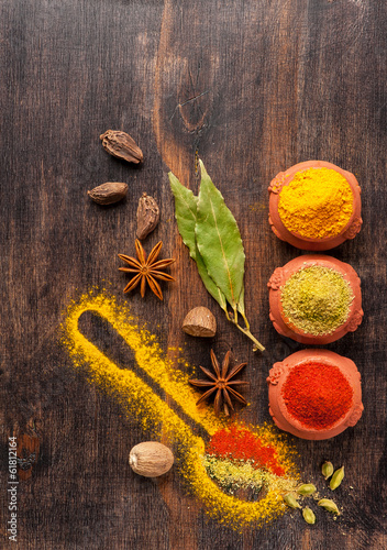 Spice mix. Spices on a wooden board.