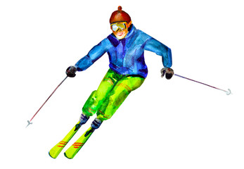 Skier. watercolor