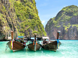 Long-tail Boats in Maya Bay, Ko Phi Phi Leh, Thailand.