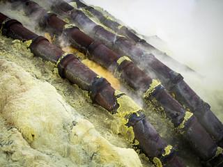 Ceramic Pipes Used for Sulfur Mining at Kawah Ijen Volcano