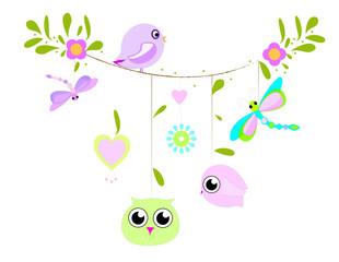 Oiseaux et libellules