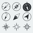 Obrazy na płótnie, fototapety, zdjęcia, fotoobrazy drukowane : Navigation compass flat icons set