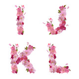 Spring alphabet with cherry flowers IJKL