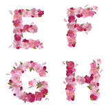 Spring alphabet with cherry flowers EFGH