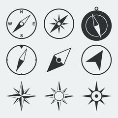 Navigation compass flat icons set