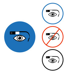 Google glass icon set blue red circle