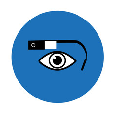 Google glass icon blue circle