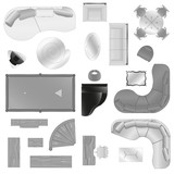 Vector graphic set of isolated interior furniture
