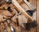 Group of different old Russian tools for woodworking