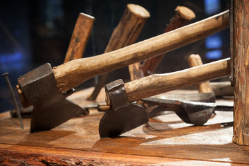 Group of old Russian tools for woodworking