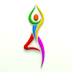 Yoga tree pose person multi color. 3D design