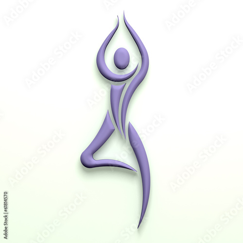 Yoga tree pose person pink color  3D design