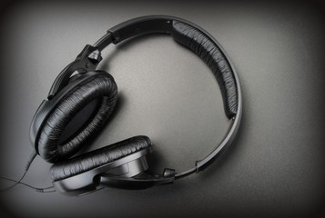 Headphones on a black background