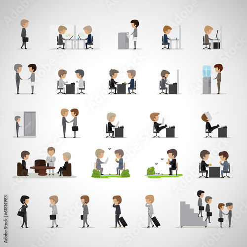 Business Peoples In Different Situation Set - Isolated On Gray