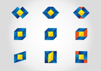 Colorful set with nine logotypes.