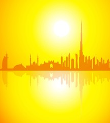 Dubai Skyline at Morning-Vector