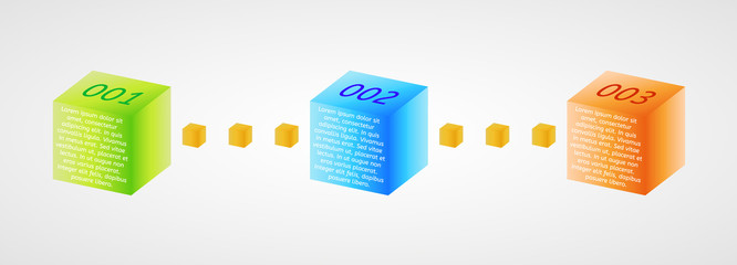 infographics - three color cubes