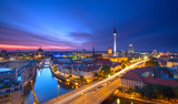 Fototapety Berlin Skyline City Panorama with Traffic and Sunset