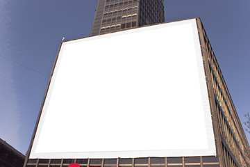 Big blank billboard on building