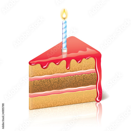 Piece of cake with jam vector illustration